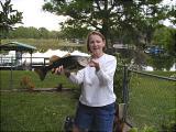 Andrea's 7 lb. bass - at 8a.m. at home