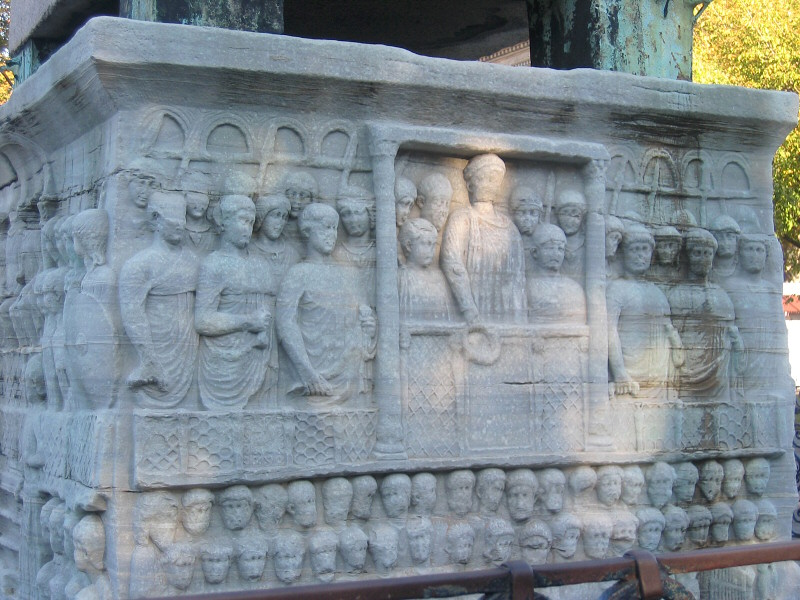 Bas relief on the marble base of the Obelisk, constructed in 389 AD