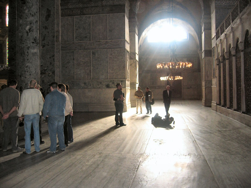 Hagia Sophia aisle, divided from nave by 4 columns from Ephesus (each of 2 aisles)