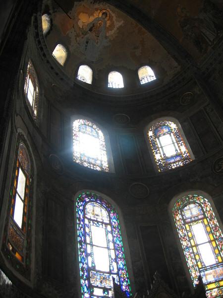 Hagia Sophia, ceiling figure and windows
