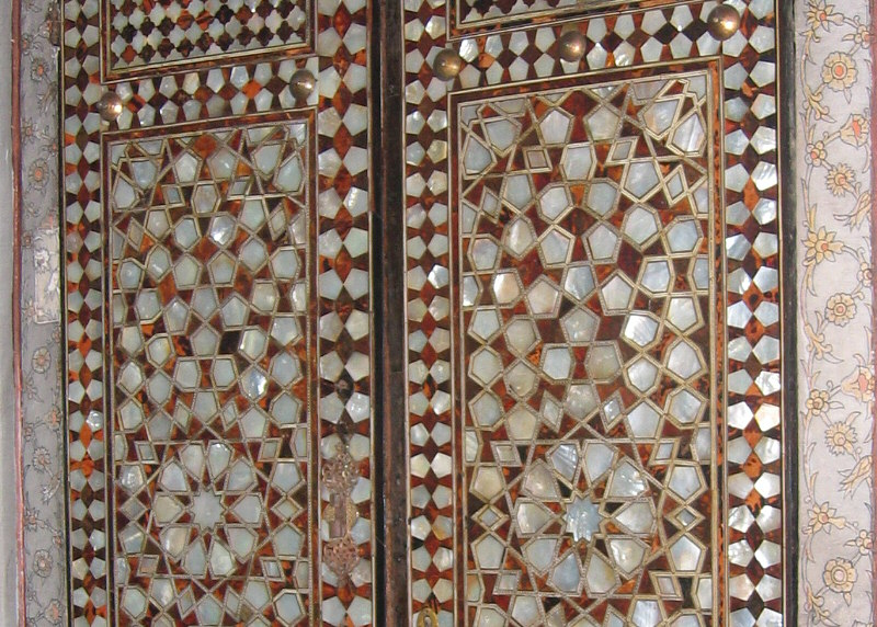 Closer view of door inlaid with mother of pearl
