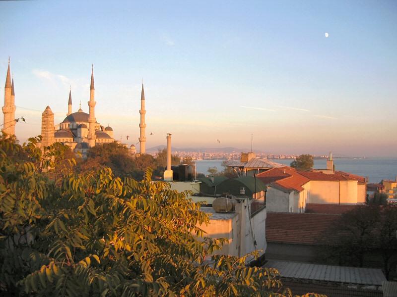 The Blue Mosque, golden at dusk