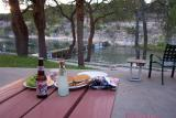Dinner is ready at the River Inn. We stayed Sunday nite and had the place to ourselves.