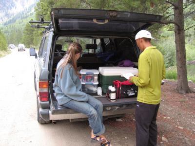 Leah & Glenn getting supplies ready