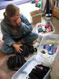 DAY BEFORE THE RACE<br>Leah organizing the supplies</br>