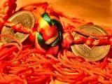 Red rope, silk knot and coins