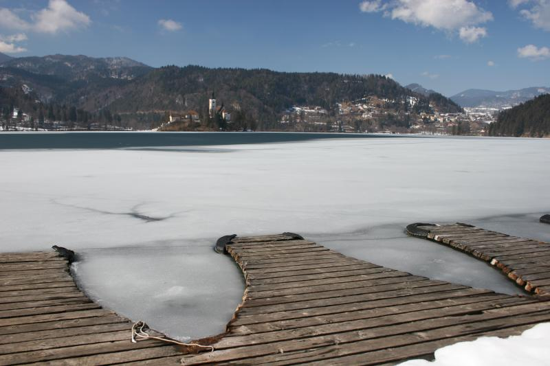 it is March but Lake Bled is still frozen