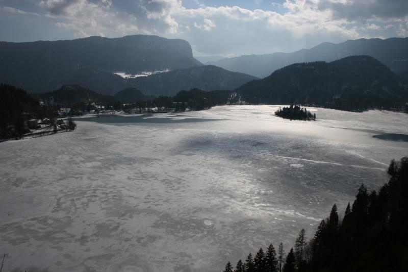 view onto Lake Bled from Bled Castle