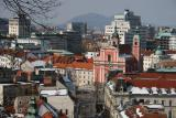 view onto Ljubljana from the Castle