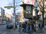 Sofia street scene. Notice the police box which is at all major crossings