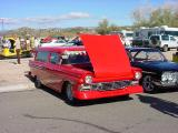 red 57 Ford station wagon