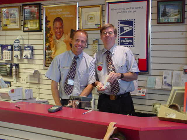coworker and Dave<br> at the Post Office USPS<br>Postmaster 85211-9999