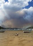 Bush fire at Ku-ring-gai Chase National Park from Careel Bay