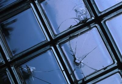 cracked glass bricks