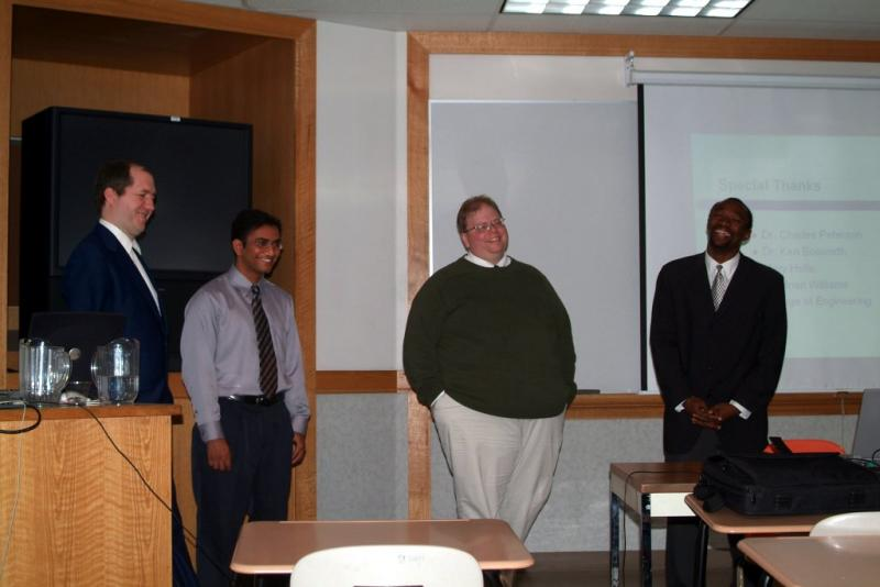 Mike Ramshaw Hidayatollah Ahsan Steve Miller and Moses Okeyo at senior project presentation DSCF0010.JPG