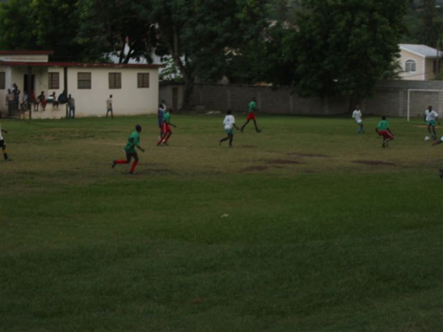 soccer game in from of the dorms