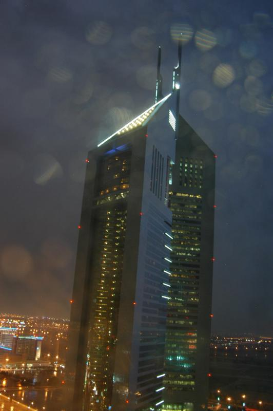 Emirates Towers in the storm 16 Nov 2004