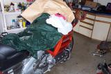 Then I covered the rest of the bike, just in case.  Brake fluid will ruin paint. Wipe it off immediatly if you spill any.