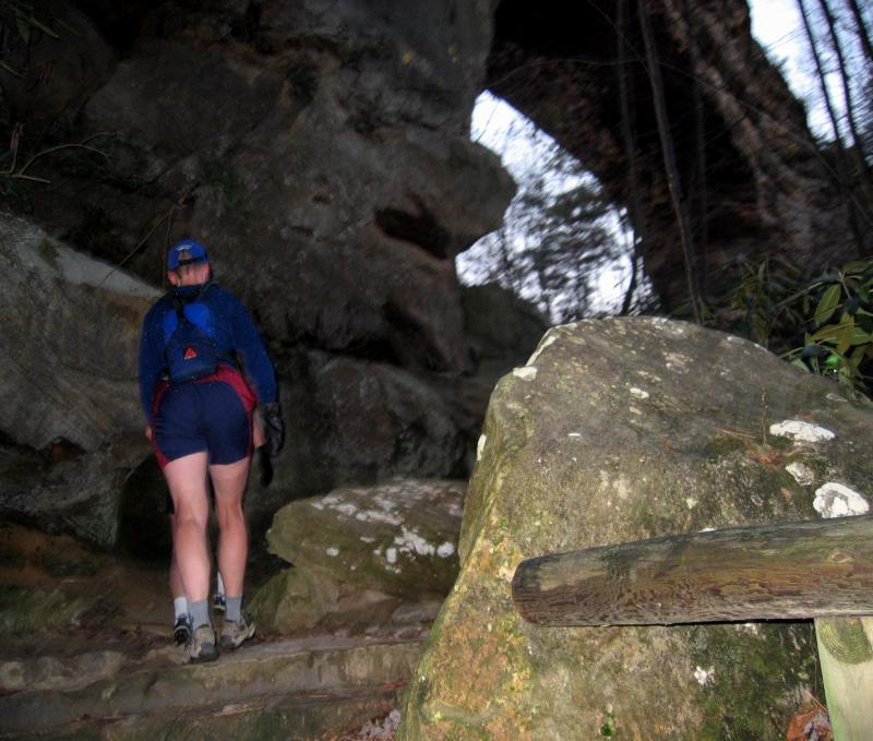 On the course: Nikki climbs