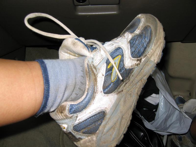 After driving 8 hours back to Chicago and sleeping another 3 hours, I wake up and don my still-wet shoes for a 5-mile trail race