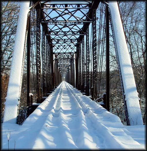 Abandoned Railroad Bridge in the Snow
