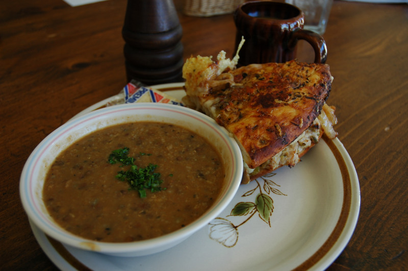 What one eats in Pocatello -- soup and sandwich combination at Toms Restaurant.jpg