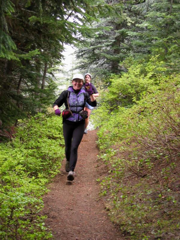 Marlis & Deb running into Corral Pass