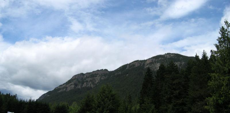 Photo of the airstrip was taken from the top of these cliffs