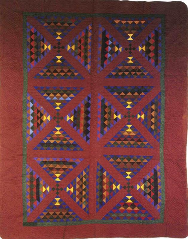 008:Railroad Crossing -Holmes County, OH-dated in quilting 1888 Made by Melinda Miller  69x89