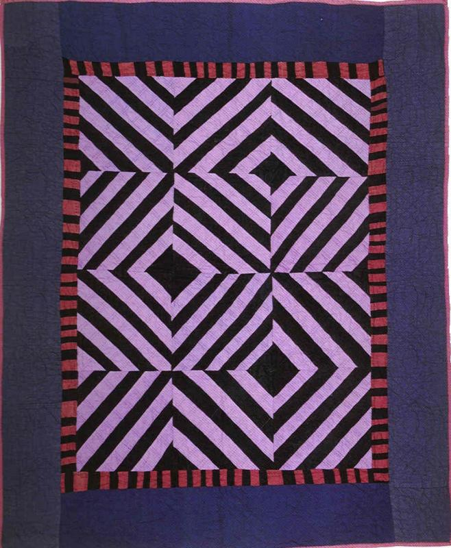 060:Roman Stripes crib quilt-Kansas     c.1910-20  37x45