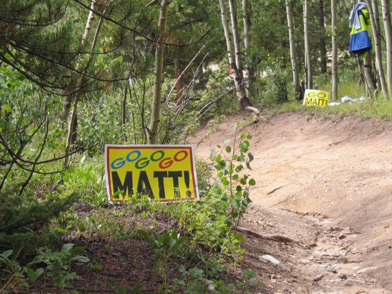 Matt signs line the trail
