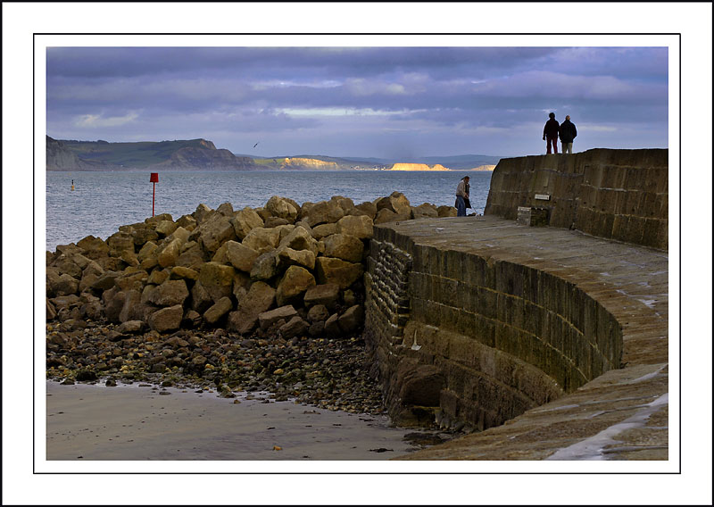 Walking the dog, Lyme Regis, Dorset