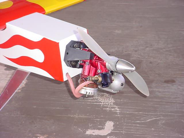 2 cycle airplane motor photo taken using flash