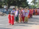 women in a wedding march
