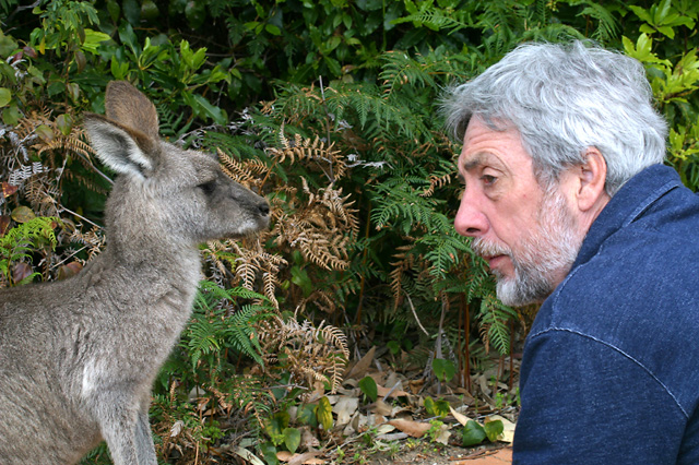 Fred with grey kangaroo at Pebbly Beach