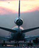 DC10 takeoff sunset aviation stock photo #SS9703p