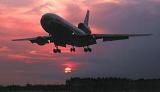 DC10 landing sunset aviation stock photo #SS9915L