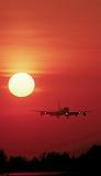 DC8 landing sunset aviation stock photo #SS9934p