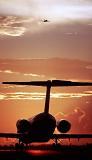 DC9/MD80 takeoff sunset aviation stock photo #SS9601p