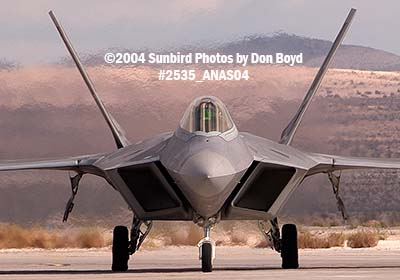 USAF F/A-22 Raptor #AF99-011 at the 2004 Aviation Nation Air Show stock photo #2535