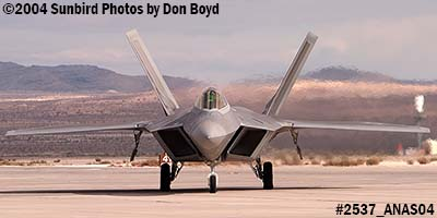 USAF F/A-22 Raptor #AF99-011 at the 2004 Aviation Nation Air Show stock photo #2537