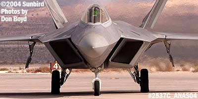 USAF F/A-22 Raptor #AF99-011 at the 2004 Aviation Nation Air Show stock photo #2537C