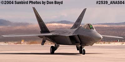 USAF F/A-22 Raptor #AF99-011 at the 2004 Aviation Nation Air Show stock photo #2539