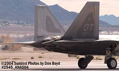 USAF F/A-22 Raptor #AF99-011 at the 2004 Aviation Nation Air Show stock photo #2545