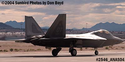 USAF F/A-22 Raptor #AF99-011 at the 2004 Aviation Nation Air Show stock photo #2546