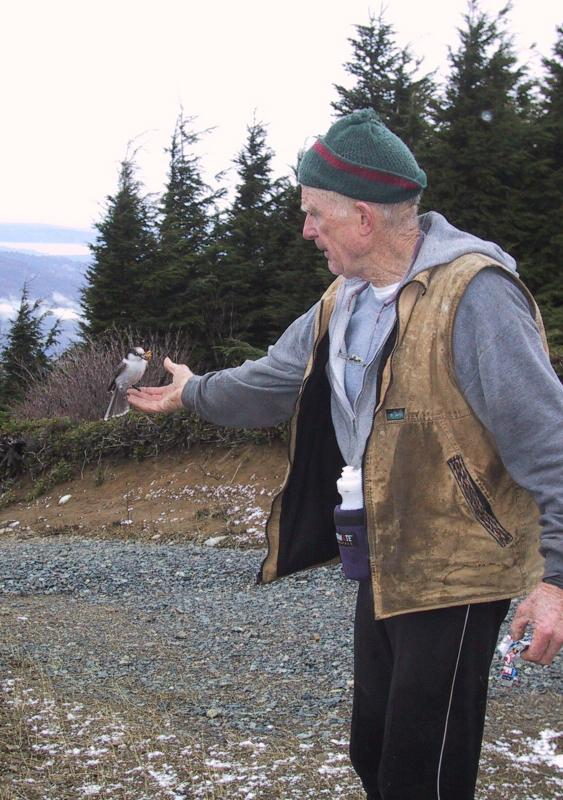 Mel feeding the birds