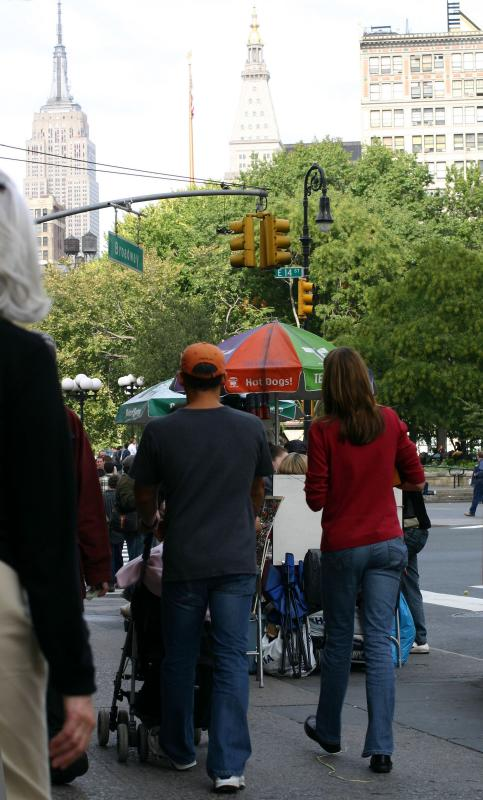 A Young Family on Their Way to Union Square Park on Broadway & 14th Street