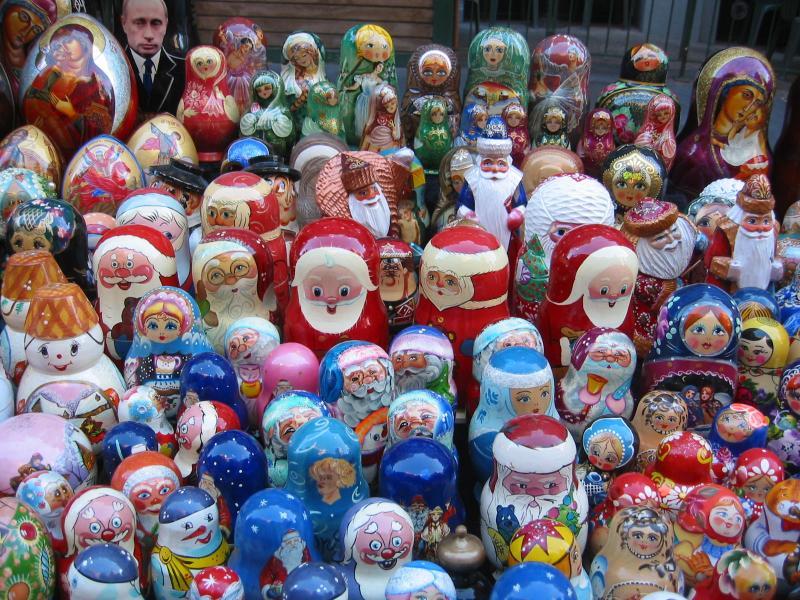 Russian Santa Claus Figures at Street Fair