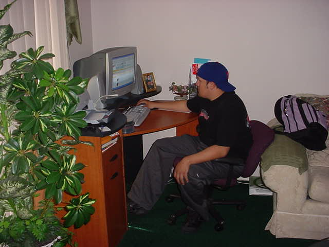 Luis on the computer