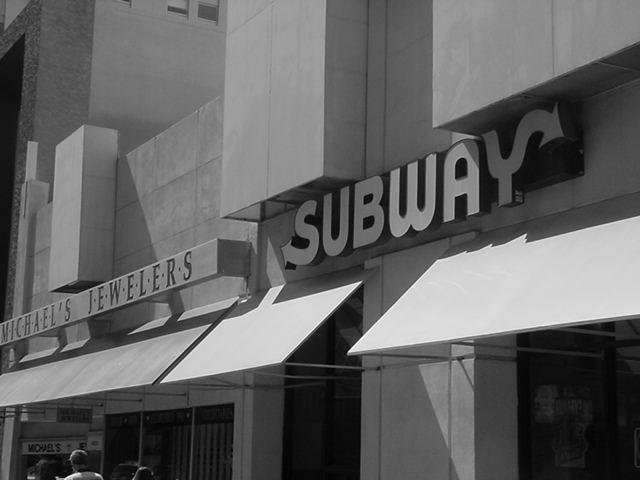 Michaels Jewelers and<br> Subway downtown <br>Phoenix Arizona USA